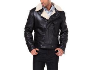 MODERM Men's Slim Fit Faux Shearling Trimmed Lambskin Leather Bomber