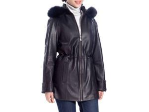 BGSD Women's Fur Trim Lambskin Leather Hooded Parka Coat - Black M
