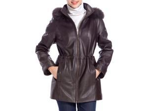 BGSD Women's Fur Trim Lambskin Leather Hooded Parka Coat - Brown M