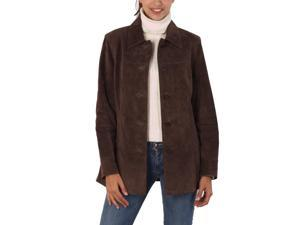 BGSD Women's Classic Suede Leather Car Coat - Brown S