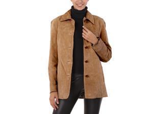 BGSD Women's Classic Suede Leather Car Coat - Caramel XL