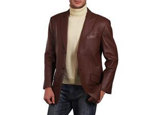 BGSD Men's Peaked-Lapel Lambskin Leather Blazer - Hazelnut M