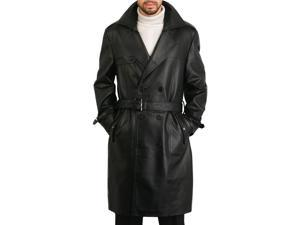 BGSD Men's Classic Leather Long Trench Coat - Black L