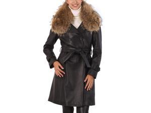 Jessie G. Women's Genuine Raccoon Fur Collar Lambskin Leather Trench Coat - Black S