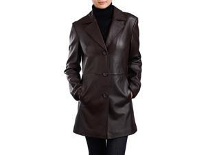 BGSD Women's New Zealand Lambskin Leather Walking Coat - Brown M
