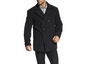 BGSD Men's Classic Wool Blend Pea Coat - Charcoal Large