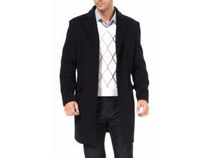 BGSD Men's Three Quarter Length Cashmere Blend Walking Coat - Black X-Large