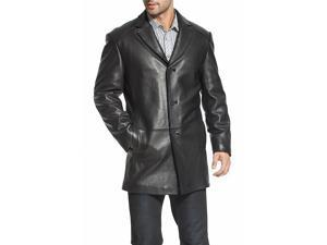 BGSD Men's Three-Button New Zealand Lambskin Car Coat - Black L