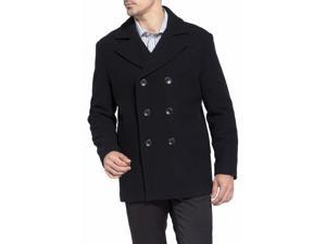 BGSD Men's Classic Wool Blend Pea Coat - Black Medium