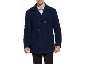 BGSD Men's Classic Wool Blend Pea Coat - Navy Large