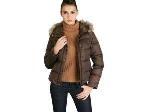 Jessie G. Women's Vest Convertible Down Jacket with Raccoon Fur Trim - Brown XL