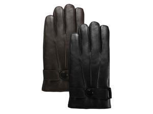 Luxury Lane Men's Textured Palm Thinsulate Lined Lambskin Leather Driving Gloves - Black Medium