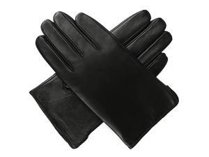 Luxury Lane Men's Classic Cashmere Lined Lambskin Leather Gloves - Black L