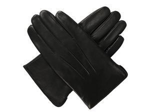Luxury Lane Men's Cashmere Lined Lambskin Leather Dress Gloves - Black M