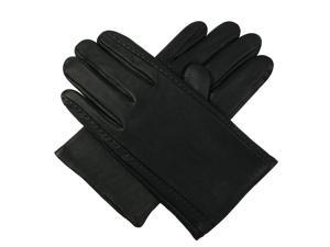 Luxury Lane Men's Cashmere Lined Lambskin Leather Gloves - Black XL