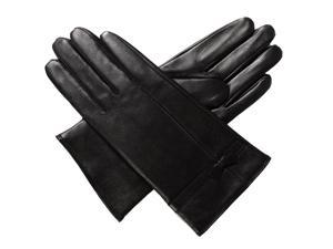 Luxury Lane Women's Cashmere Lined Leather Gloves with Bow - Black Large