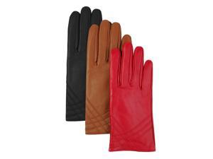 Luxury Lane Women's Cashmere Lined Lambskin Leather Gloves - Red Large