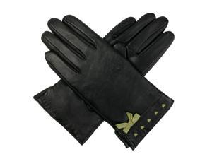Luxury Lane Women's Contrast Bow Cashmere Lined Lambskin Leather Gloves - Black/Green Small