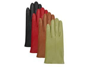 Luxury Lane Women's Cashmere Lined Lambskin Leather Gloves - Green Small