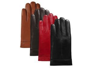 Luxury Lane Women's Cashmere Lined Lambskin Leather Gloves - Tobacco S