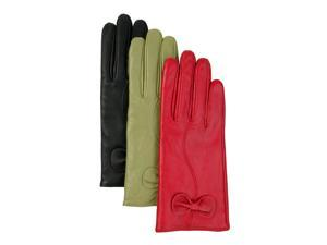 Luxury Lane Women's Cashmere Lined Lambskin Leather Gloves with Bow - Red Large