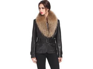 Jessie G. Women's Belted Lambskin Leather Jacket with Raccoon Fur Collar - Black L