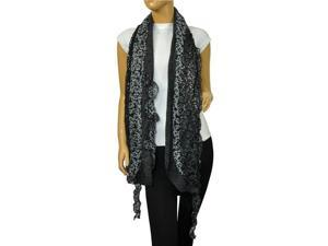 Fancy Sequins Wild Flower Double Layers Knitted Long Scarf(Black)-Various Colors