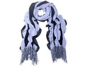 100% Acrylic Fashion Wavy Ruffle Knitted Tassel Ends Long Scarf - Blue