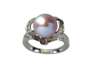 Sweet Heart Cubic Zirconia Lavender Pearl Platinum Over Silver Ring Size 9