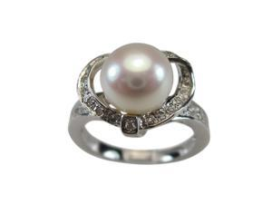 Sweet Heart Cubic Zirconia White Pearl Platinum Over Silver Ring Size 9
