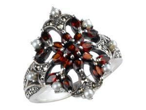 Garnet Fire Burst Silver Natural Seed Pearl Ring (Size 5) - Various sizes