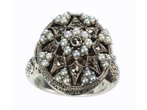 Poison Silver Locket Natural Seed Pearl Ring (Size 7)