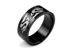 Men's Black Stainless Steel Dragon 8mm Band Ring (Size 9)