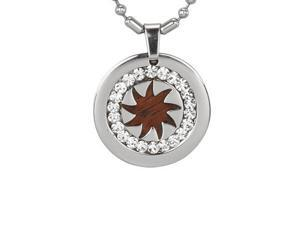 Redwood Cubic Zirconia Spike Wheel Medal Stainless Steel Pendant Necklace 20'