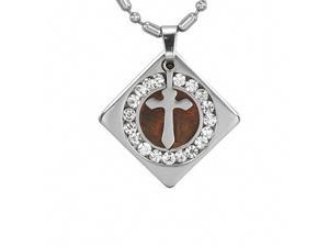 Stainless Steel Cross Redwood Cubic Zirconia Circle Diamond Pendant Necklace 16""