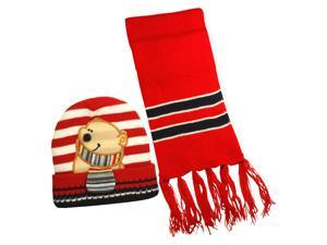 100% Acrylic Boy's Stripes & Cartoon Bear Knitted Hat Scarf Set - Red