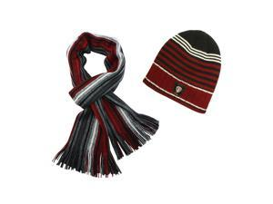 100% Acrylic Men's Fashion Classic Colorful Strips Cap Hat Scarf Set - Red