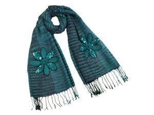 Acrylic & Mohair Fashion Knitted Sequined Flowers Long Scarf Shawl(Blue)-Various colors