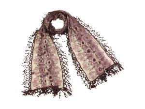 Rayon & Polyamide Handmade Lace Geometric & Flower Sequins Long Scarf - Violet
