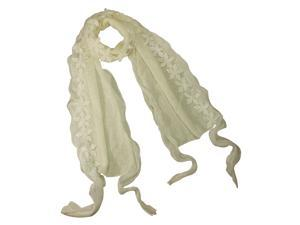Acrylic & Polyester Fashion Carefree Chiffon Flowers Edge Long Scarf - White