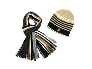 100% Acrylic Men's Fashion Classic Colorful Strips Cap Hat Scarf Set - Tan
