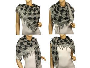 Polyester Fashion String Box Pattern Tassels Ends Square Scarf Shawl - Black