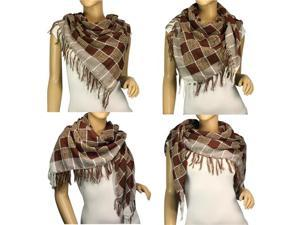 Polyester Fashion String Box Pattern Tassels Ends Square Scarf Shawl - Brown