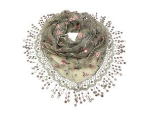 Rayon & Polyamide Handmade Lace Vine Flowers Sequins Triangle Scarf - Gray