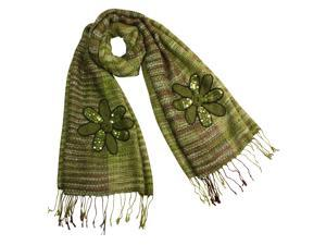 Acrylic & Mohair Fashion Knitted Sequined Flowers Long Scarf Shawl(Green)-Various colors