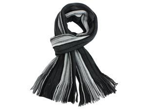 100% Acrylic Colorful Stripes Tassel Ends Knitted Long Scarf - Gray