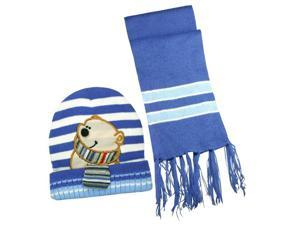 100% Acrylic Boy's Stripes & Cartoon Bear Knitted Hat Scarf Set - Blue