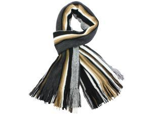 100% Acrylic Colorful Stripes Tassel Ends Knitted Long Scarf - Tan
