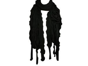Dahlia 100% Acrylic Fashion Large Flower Ruffle Knitted Tassel Ends Long Scarf - Black