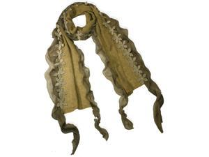 Acrylic & Polyester Fashion Carefree Chiffon Flowers Edge Long Scarf - Camel